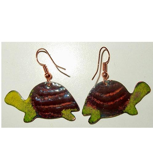 Enameled Turtle Earrings