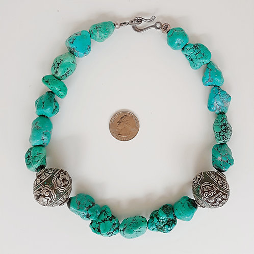 Contemporary Nepalese turquoise nugget necklace