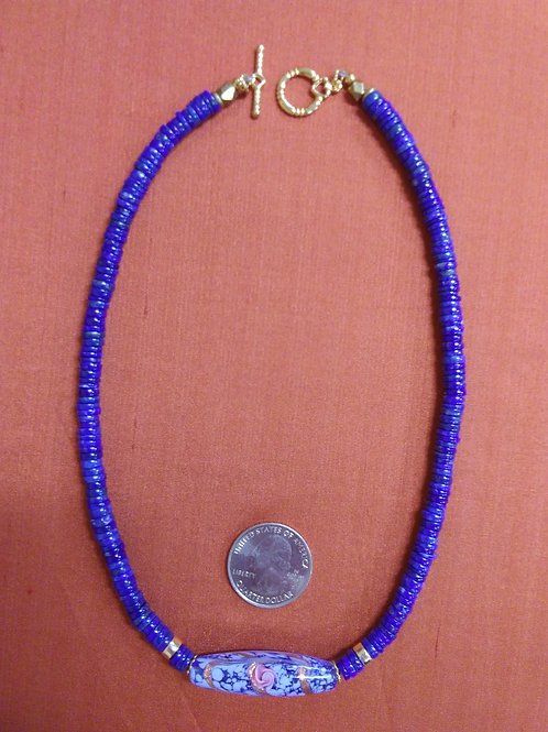 Lapis necklace with Murano glass focal
