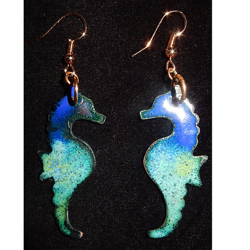 Enameled Seahorse Earrings