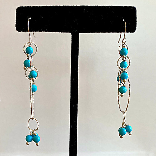 Genuine Blue Turquoise Earrings