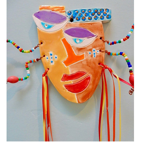 Ceramic wall Mask in Orange