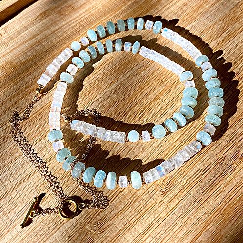 Genuine Aquamarine and Rainbow Moonstone Necklace
