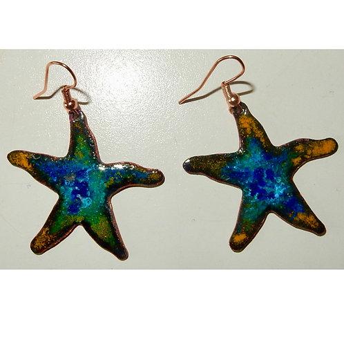 Enameled Starfish Earrings