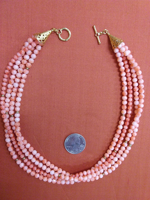 4 strand necklace of old coral