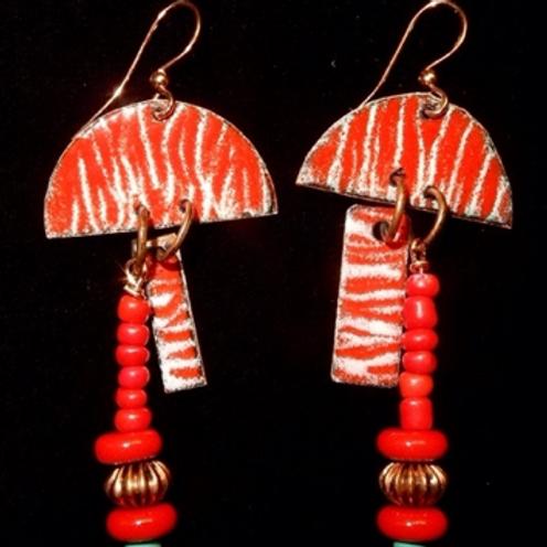 Red / White Sgraffito enameled earrings