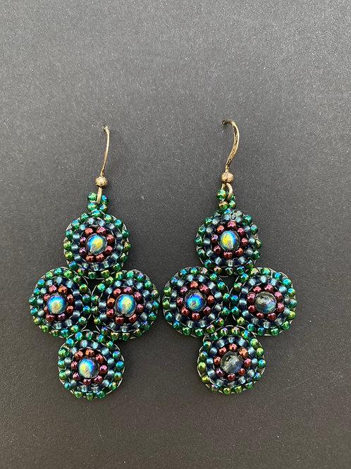 Teal quatrefoil earrings