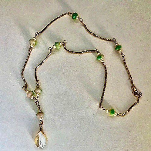 Chrysoprase and Freshwater Pearl Gold Filled Necklace