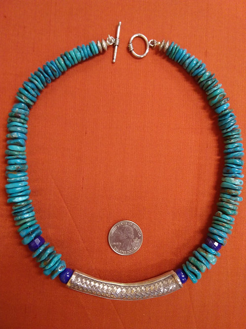 Turquoise necklace with silver basketweave focal