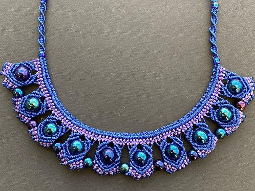 Blue & purple micromacrame necklace