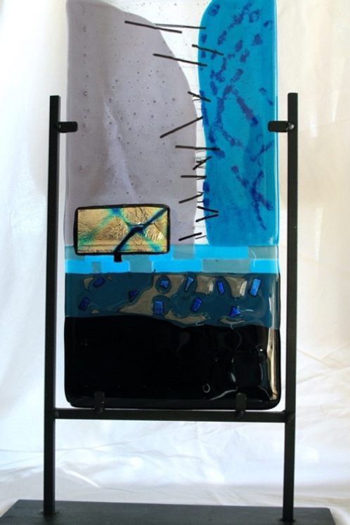Mellow Blue - fused glass