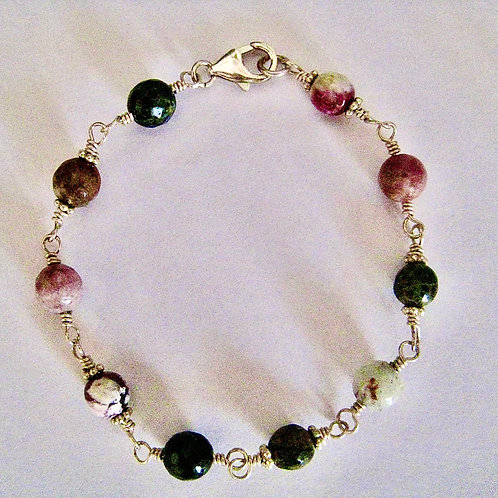 Round Cut Tourmaline and Sterling Silver Wire Wrapped Bracelet