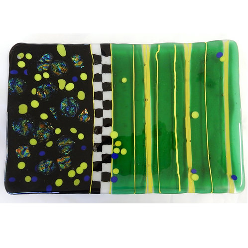 Fused Glass Platter in Green, lime, black white and dichroic