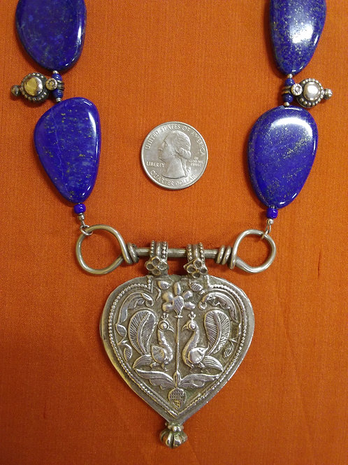 Lapis necklace with peacock pendant
