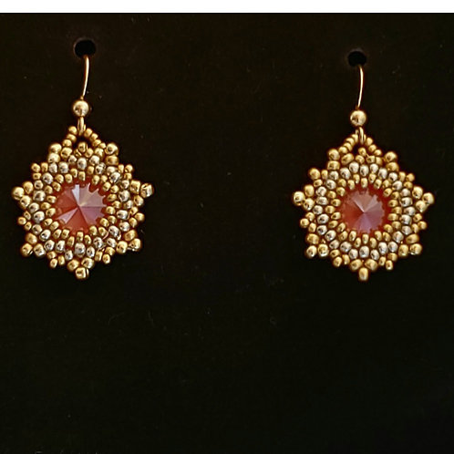 Coral Swarovski Earrings