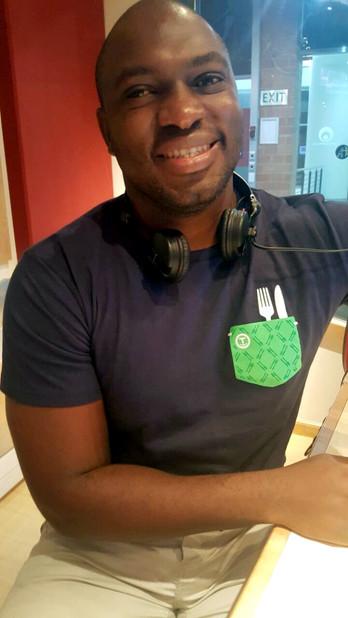 Sky Tshabalaba in his mock pocket bonhappi-T on ECR breakfast show