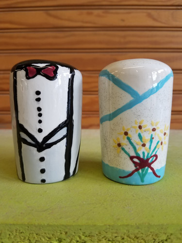 Bride and groom salt & pepper shakers!