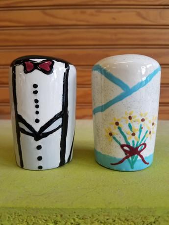 Bride and groom salt & pepper shakers!
