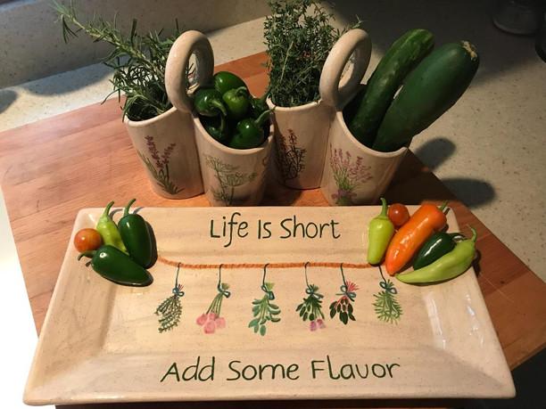 Paint caddies as herb and vegetable holders!