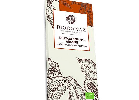 Tablete de chocolate negro70% Amêndoas BIO