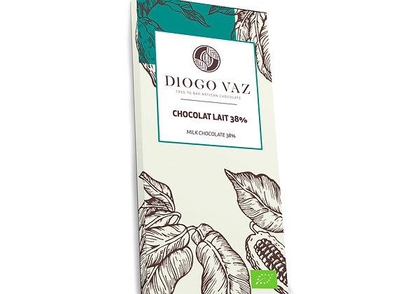 Tablete de chocolate de leite 38% BIO