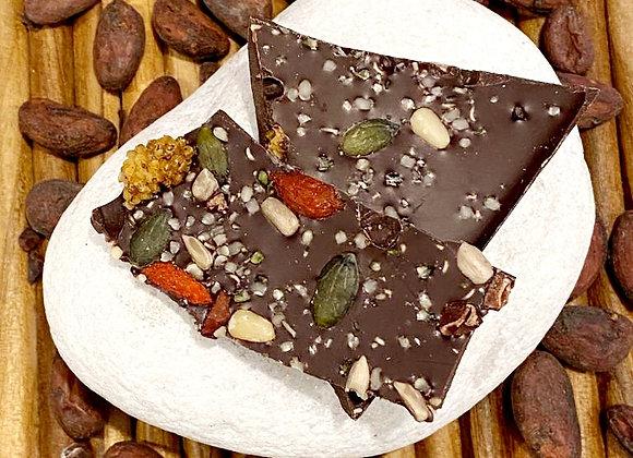 Placa de chocolate Amelonado 70% com mix de frutos secos e sementes 100 gramas
