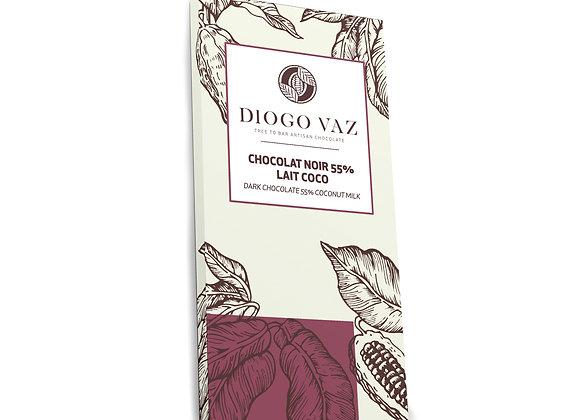 Tablete de chocolate negro 55% Leite de Coco