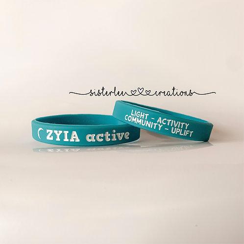 Zyia Active Wristbands - Aqua+White