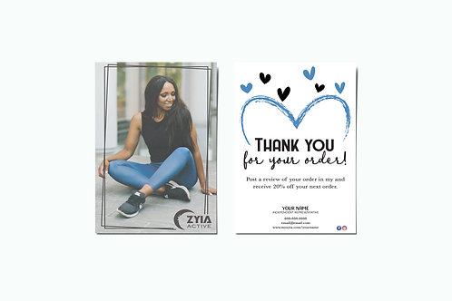 Zyia Active Customer Thank You Card - Blue