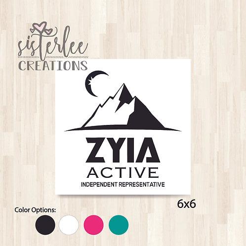 Zyia Active Vinyl Decal - Moon w/ Mountains (6x6)