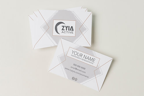 Zyia Business Card - Grey + Gold