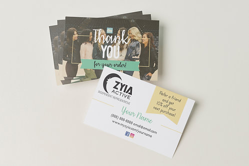 Zyia Active Thank you/ Referral Cards (100 Pack)