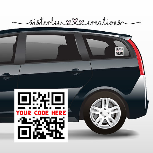 "Custom QR Code Car Window Vinyl Decal (5""x5"")"