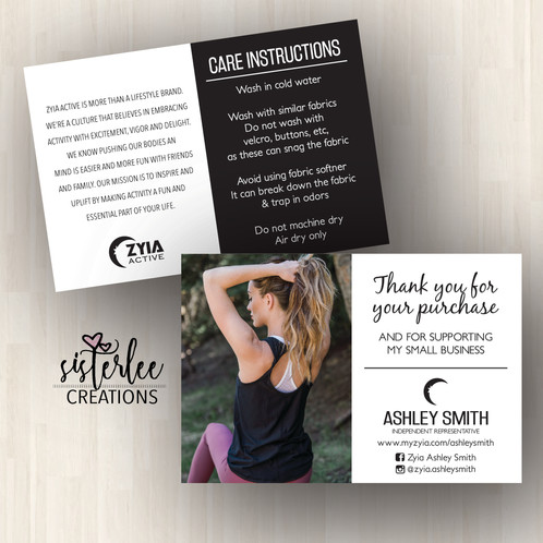 5b96d4092ec Zyia Thank you cards with Care Instructions are great to add to your  customer s orders to show your appreciation for their business.