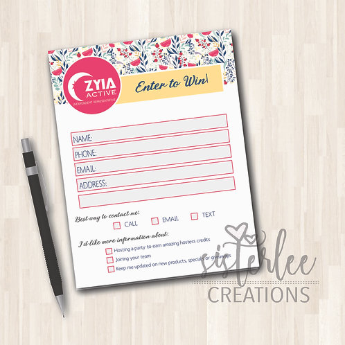 Zyia Active Enter to Win Notepad