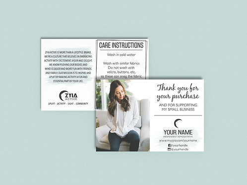 Zyia Active Customer Thank You/Care Instruction Card