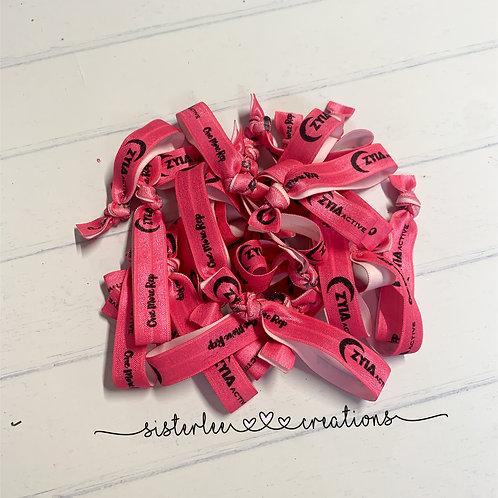 Zyia Active Elastic Hot Pink+Black Hair Ties (50 Pack)