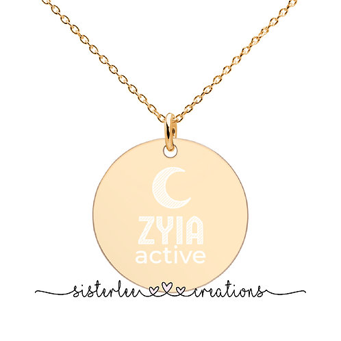 Zyia Active Engraved 24k Gold Disc Necklace
