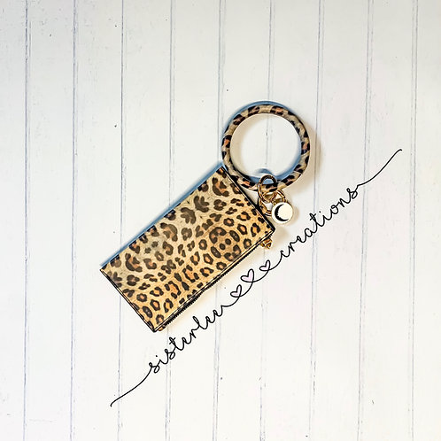 Leopard Mini Clutch + Key Ring Bracelet w/ Moon Charm