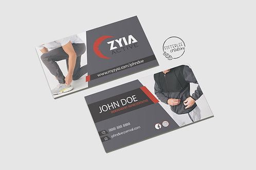 Zyia Men's Business Card - Grey+Red