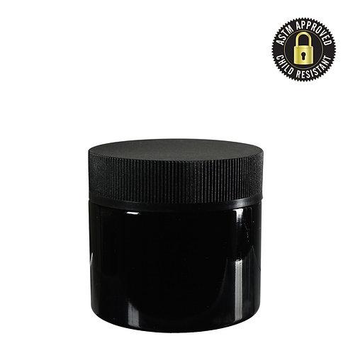 2oz CR Black Flush Cap Jars - Glossy - 200 Count
