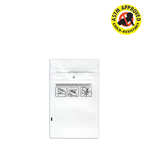 DymaPak Child Resistant Vista White Mylar Bag 1/8 Ounce - 1000 Count