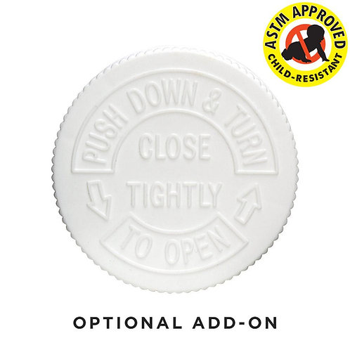2oz / 4oz Child Resistant White CAPS ONLY - 120 Count