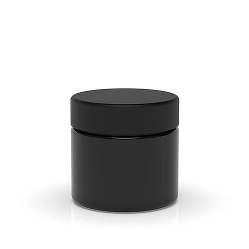 2 oz Child Resistant Black Glass Jars