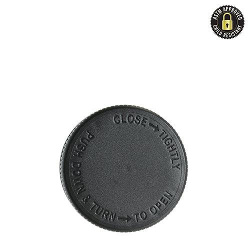 Smooth Black Child Resistant Caps 38mm 1 oz - 84 Count