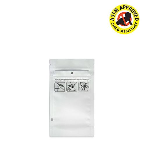 DymaPak Child Resistant Vista White Mylar Bag 1/4 Ounce - 1000 Count