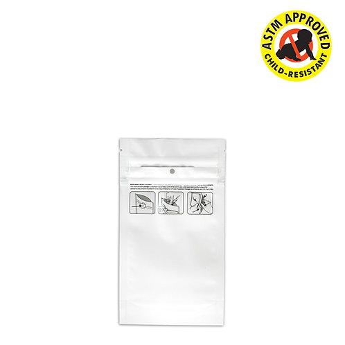 DymaPak Child Resistant White Mylar Bag 1/4 Ounce - 1000 Count