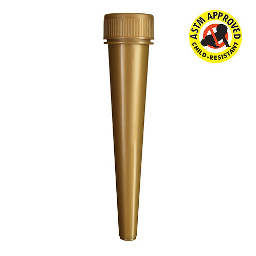 Gold Child Resistant Conical Tube 98mm - 850 Count