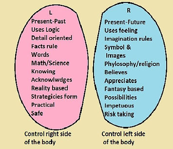 Responsibility of left and right side of brain