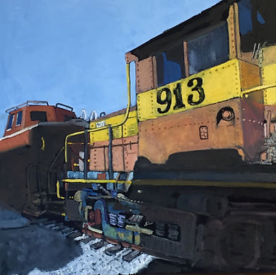Engine 913, TVR Museum, oil on canvas, 2